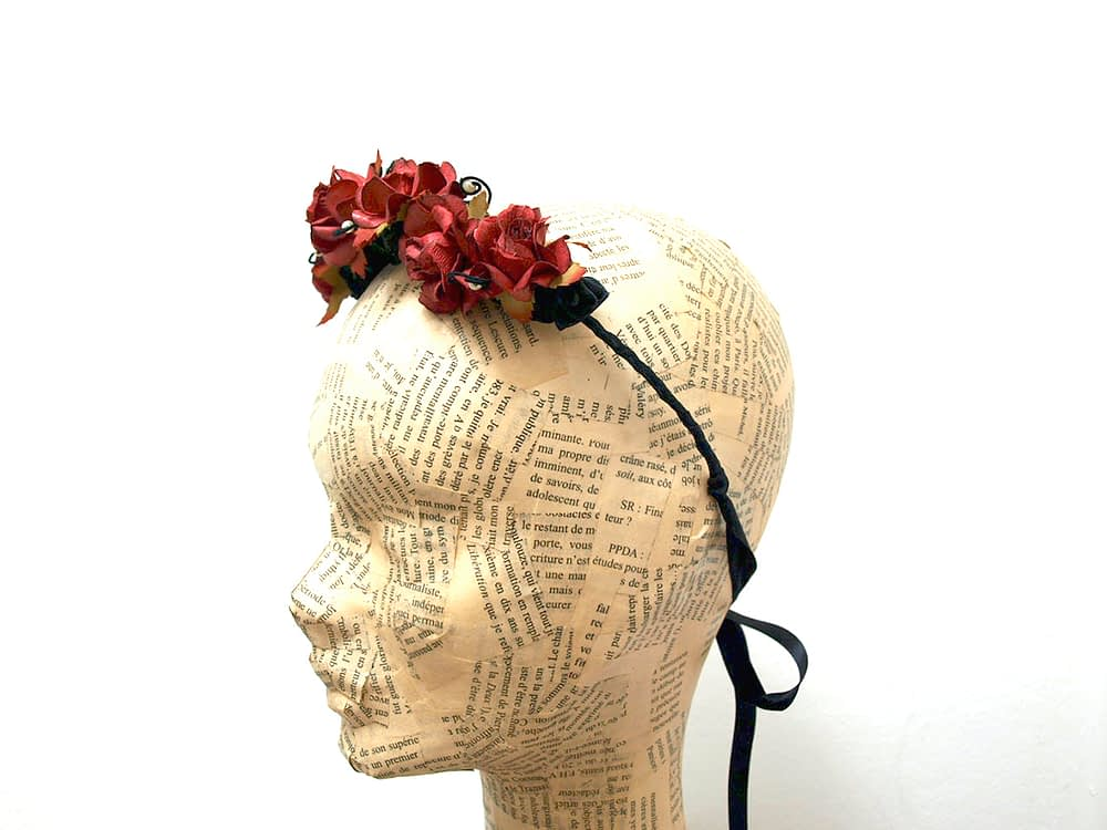 Floral tiara in dark red