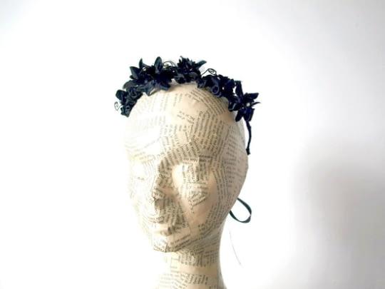 Black and Pearls Floral Crown