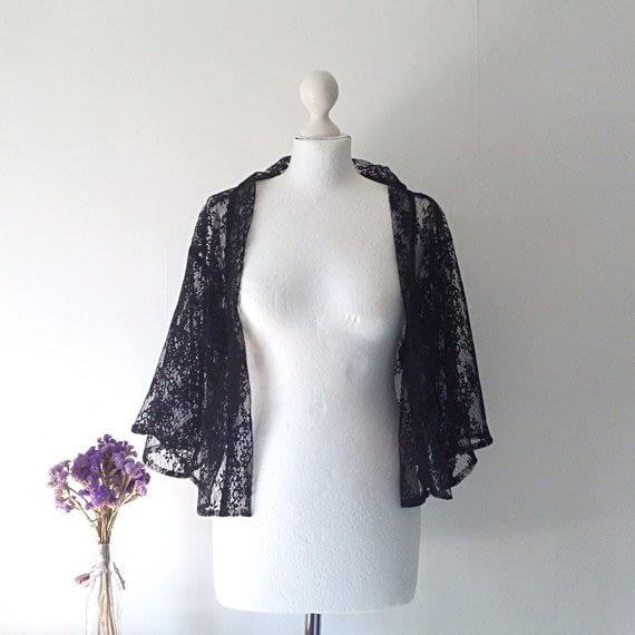 Black Floral Tulle Kimono