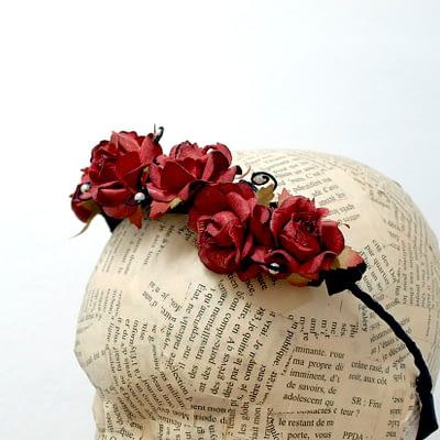 Burgundy Floral Tiara