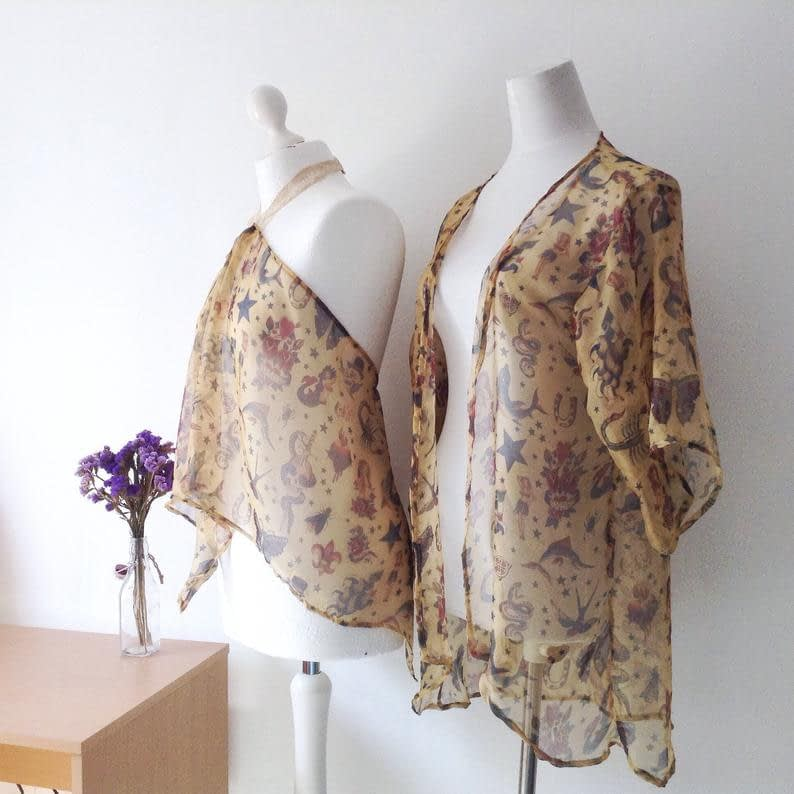 Tattoo patterned Silk Pieces