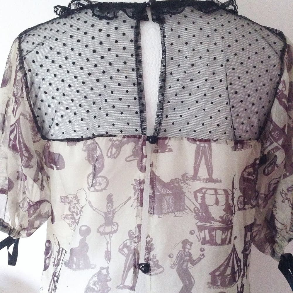 Detail Tulle and Transparent Silk Top