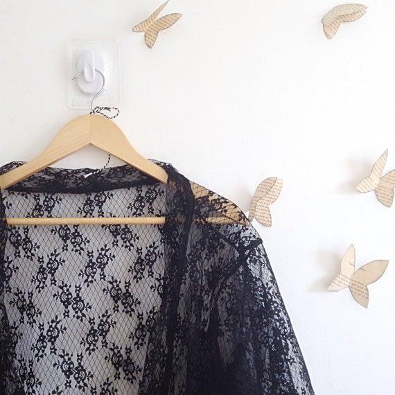 Slow Fashion - Black Lace Kimono