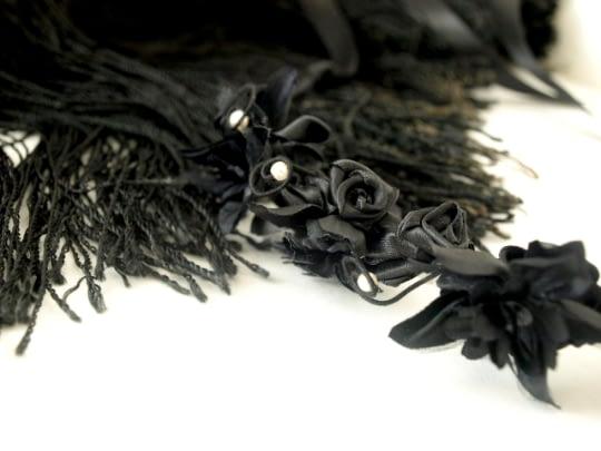 Floral tiara and Vintage fabrics