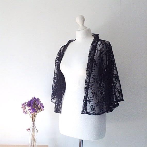 Black tulle Kimono Jacket